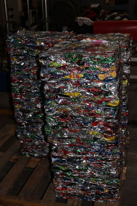 Blocks of crushed, recycled aluminum cans